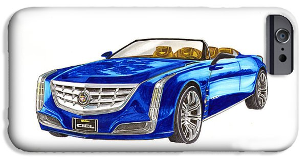 Classic Car Paintings iPhone Cases - 2014 Cadillac CIEL Concept iPhone Case by Jack Pumphrey