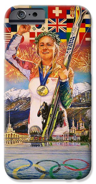 Skiing Posters Paintings iPhone Cases - 2014 Sochi Winter Olympics iPhone Case by Sean OConnor