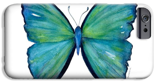 Moth iPhone Cases - 21 Blue Aega Butterfly iPhone Case by Amy Kirkpatrick