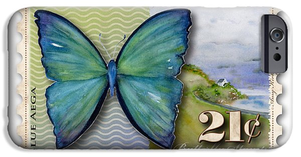 Jersey Shore Paintings iPhone Cases - 21 Cent Butterfly Stamp iPhone Case by Amy Kirkpatrick