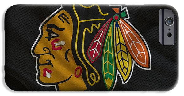 Santa iPhone Cases - Chicago Blackhawks iPhone Case by Joe Hamilton