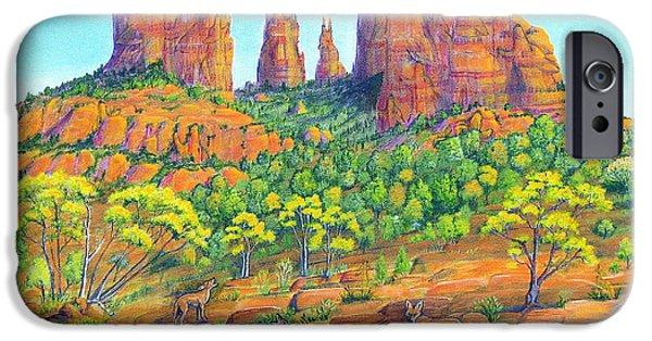 Sedona iPhone Cases - 21 Coyotes Of Sedona Arizona iPhone Case by Jerome Stumphauzer