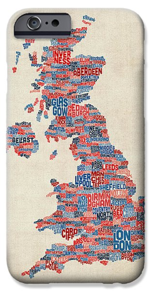 Map Canvas iPhone Cases - Great Britain UK City Text Map iPhone Case by Michael Tompsett