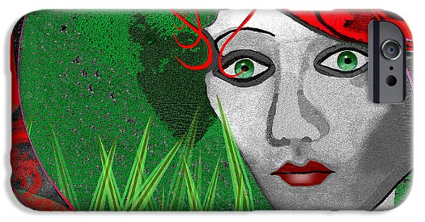 New Individuals iPhone Cases - 210 - Lady  red hat iPhone Case by Irmgard Schoendorf Welch