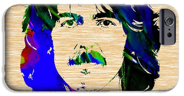 Beatles iPhone Cases - George Harrison Collection iPhone Case by Marvin Blaine