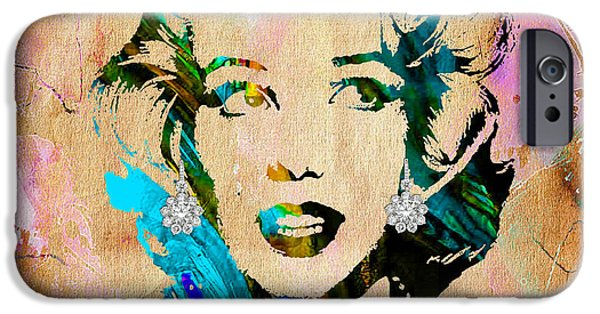 Icon iPhone Cases - Marilyn Monroe Diamond Earring Collection iPhone Case by Marvin Blaine