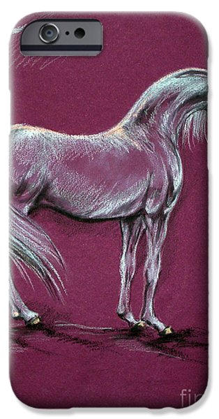 Horse Pastels iPhone Cases - Arabian Horse  iPhone Case by Angel  Tarantella