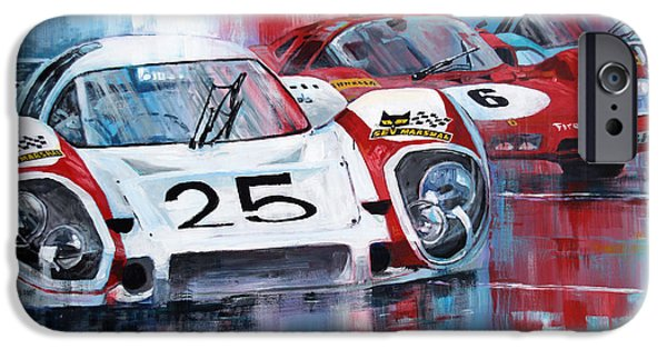 Classic Racing Car iPhone Cases - 24 Le Mans 1970 iPhone Case by Yuriy Shevchuk