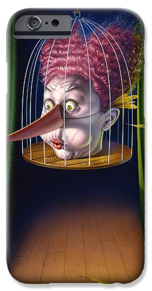 Creepy iPhone Cases - 24th Annual Waxdecks Bird Calling Contest iPhone Case by Mark Fredrickson