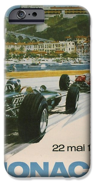 Towns Digital Art iPhone Cases - 24th Monaco Grand Prix 1966 iPhone Case by Nomad Art And  Design