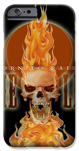 Bad Ass iPhone Cases - 24x36 Born 2 Raise Hell iPhone Case by Dia T