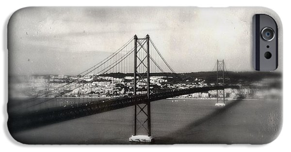 American Revolution iPhone Cases - 25 de Abril Bridge II iPhone Case by Marco Oliveira