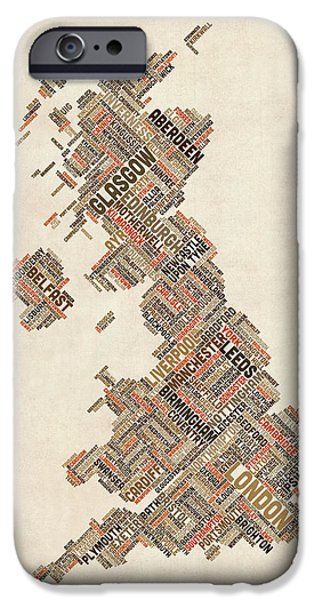 Great Britain iPhone Cases - Great Britain UK City Text Map iPhone Case by Michael Tompsett