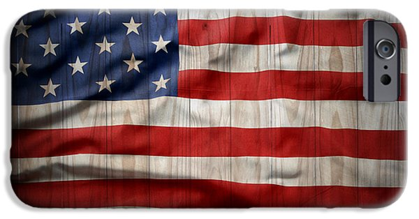 Painted Wood iPhone Cases - American flag iPhone Case by Les Cunliffe