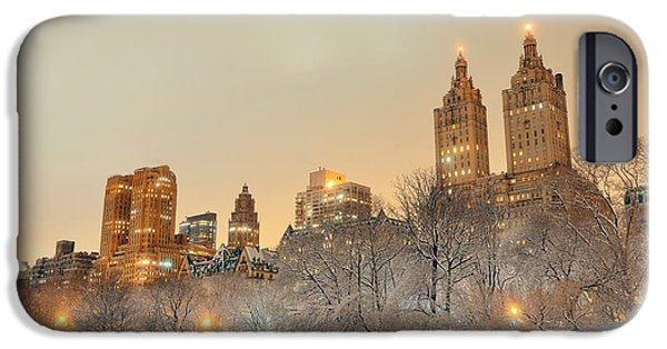 Twin Towers Nyc iPhone Cases - Central Park winter iPhone Case by Songquan Deng