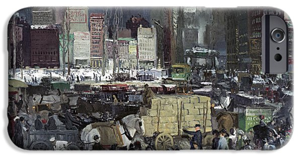 Horse And Buggy iPhone Cases - New York 1911 iPhone Case by George Wesley Bellows