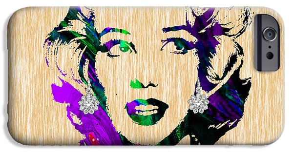 Celebrities iPhone Cases - Marilyn Monroe Diamond Earring Collection iPhone Case by Marvin Blaine