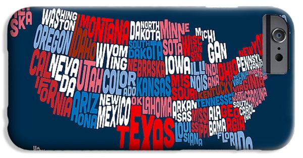 Word Map iPhone Cases - United States Typography Text Map iPhone Case by Michael Tompsett