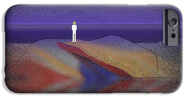 Dark Skies Digital iPhone Cases - 276 -  Man looking at the ocean   iPhone Case by Irmgard Schoendorf Welch
