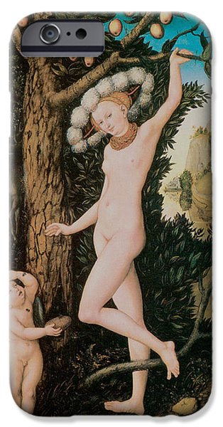 Pear Tree Paintings iPhone Cases - Cupid Complaining To Venus iPhone Case by Lucas Cranach
