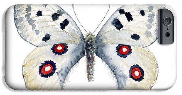 Species Paintings iPhone Cases - 28 Apollo Butterfly iPhone Case by Amy Kirkpatrick