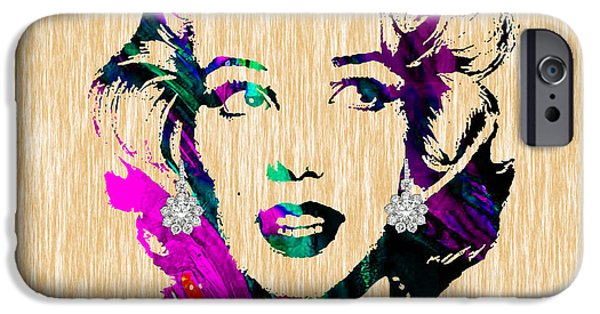 Portrait iPhone Cases - Marilyn Monroe Diamond Earring Collection iPhone Case by Marvin Blaine