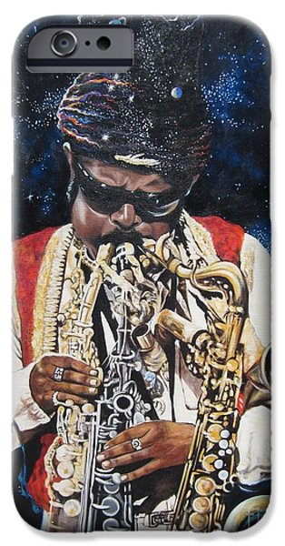 Planets Paintings iPhone Cases - 285  Rahsaan Roland Kirk  iPhone Case by Sigrid Tune