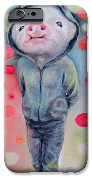 Piglets Paintings iPhone Cases - 2nd Little Pig iPhone Case by Manami Lingerfelt