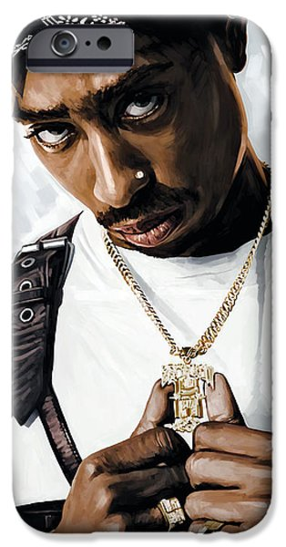Hip-hop iPhone Cases - 2Pac Tupac Shakur Artwork  iPhone Case by Sheraz A