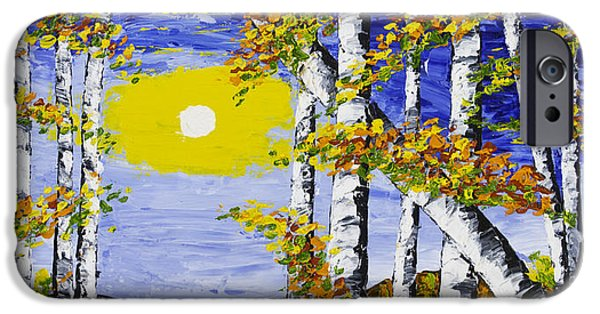 Beautiful Scenery Paintings iPhone Cases -  White Birch Trees In Fall Abstract Painting iPhone Case by Keith Webber Jr
