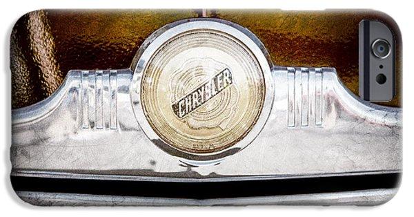 Windsor iPhone Cases - 1949 Chrysler Windsor Grille Emblem iPhone Case by Jill Reger