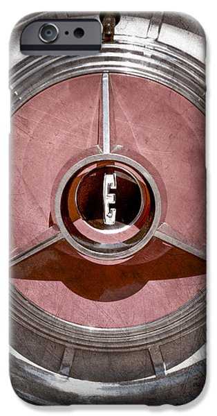 Pacers iPhone Cases - 1958 Edsel Pacer Convertible Wheel Emblem iPhone Case by Jill Reger