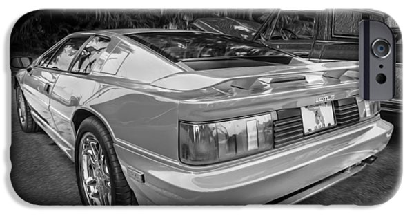 1990 iPhone Cases - 1990 Lotus Esprit SE Painted BW iPhone Case by Rich Franco
