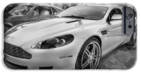 Power iPhone Cases - 2007 Aston Martin DB9 Coupe Painted BW  iPhone Case by Rich Franco