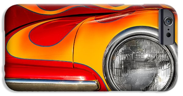 Indy Car iPhone Cases - 48 Ford on Fire iPhone Case by Ron Pate