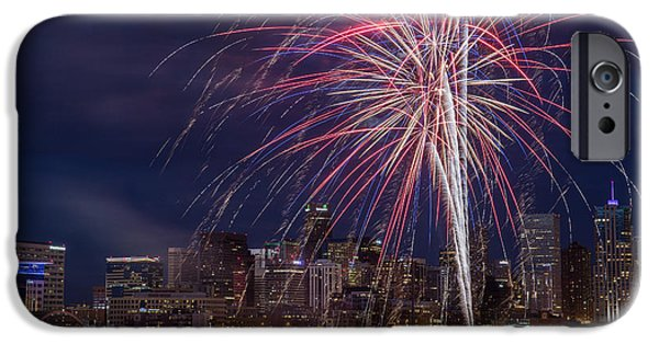 Speer iPhone Cases - 4th of July Fireworks Over Denver Skyline iPhone Case by Bridget Calip