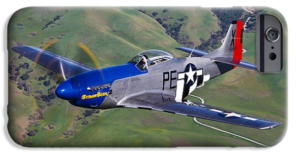 North American Aviation iPhone Cases - A P-51d Mustang In Flight iPhone Case by Scott Germain