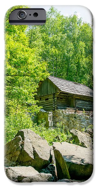 Village iPhone Cases - A typical ukrainian antique stone house in the forest iPhone Case by Alain De Maximy
