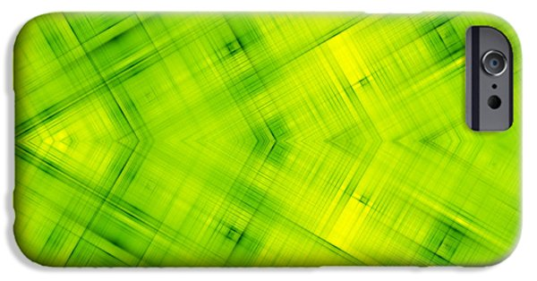 Concept Digital Art iPhone Cases - Abstract Green Background iPhone Case by Dan Radi