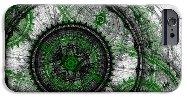 Abstract Digital Art iPhone Cases - Abstract mechanical fractal iPhone Case by Martin Capek