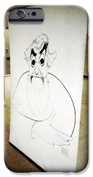 Caricature Artist iPhone Cases - Al Hirschfeld iPhone Case by Natasha Marco