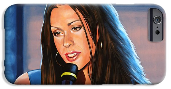 Singer-songwriter iPhone Cases - Alanis Morissette  iPhone Case by Paul Meijering