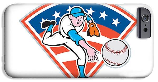 Baseball Glove iPhone Cases - American Baseball Pitcher Throwing Ball Cartoon iPhone Case by Aloysius Patrimonio