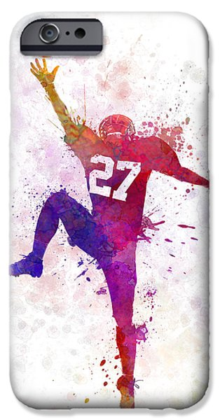 American Football Paintings iPhone Cases - American Football Player Man Catching Receiving iPhone Case by Pablo Romero