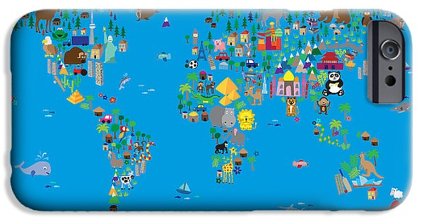 Child Digital iPhone Cases - Animal Map of the World for children and kids iPhone Case by Michael Tompsett