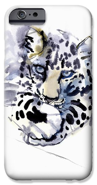 On Paper Paintings iPhone Cases - Arabian Leopard iPhone Case by Mark Adlington