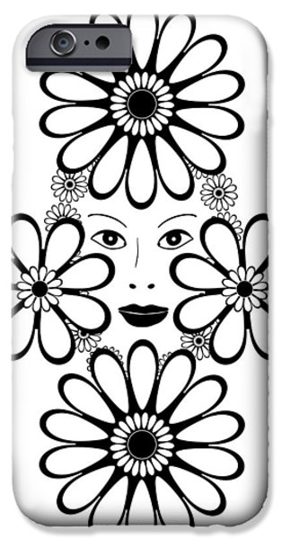 Large Drawings iPhone Cases - Art Nouveau Woman iPhone Case by Frank Tschakert