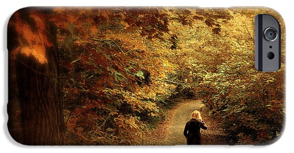 Dog Walking Digital iPhone Cases - Autumn Stroll iPhone Case by Jessica Jenney