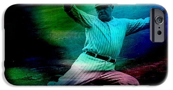 Baseball iPhone Cases - Babe Ruth iPhone Case by Marvin Blaine