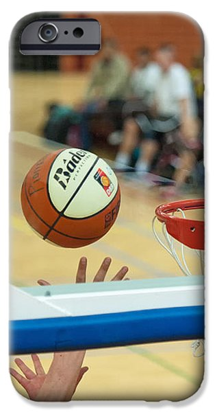 Ball on its way to the basket iPhone Case by Jan Marijs